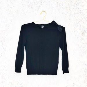 Theory wool bow shoulder pullover sweater